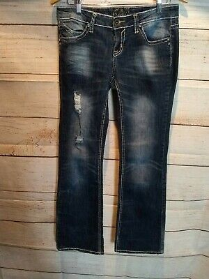 dd1f6a273e8 Rue 21 Premiere Denim Jeans Factory Distressed Blue Junior Womens Size 5/6  AH9