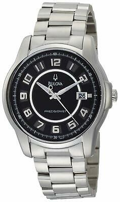 Bulova Claremont Precisionist 43mm Black Dial Silver Tone Men's Watch 96B129 SD9