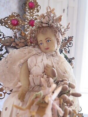 French Antique Wedding Display 1800s Wax Child Wachskind Globe de Mariee Shabby