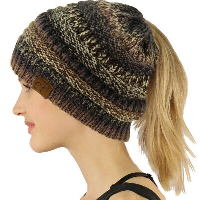 CC Ponytail Messy Bun BeanieTail Soft Winter Knit Stretch Beanie Hat Cap Mix Blk