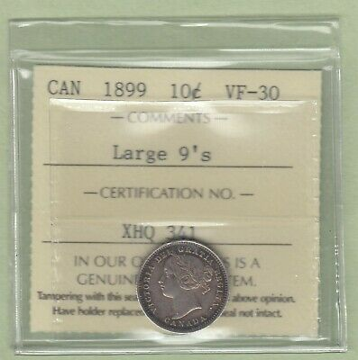 1899 Canadian 10 Cents Silver Coin - Large 9's - ICCS Graded VF-30