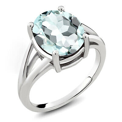 4.00 Ct Oval Sky Blue Simulated Aquamarine 925 Sterling Silver Ring