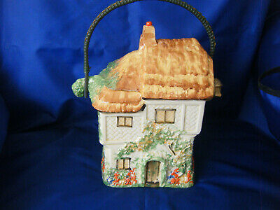 Biscuit Barrel In The Shape Of Ann Hathaways Cottage With Cane Handle