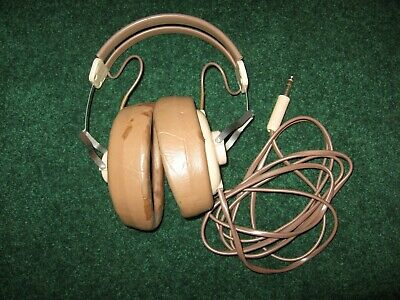 Vintage Brown & Tan Colored Rca Victor Xfk 11-B Stereo Headphones Tested Working