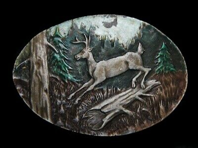 Nb11107 Vintage 1980 **Deer Jumping Over Log** Belt Buckle