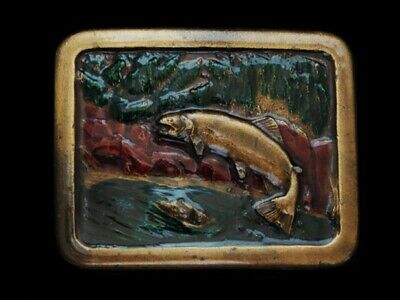 Nb01127 *Nos* Vintage 1977 **Trout Fish Jumping Upstream** Belt Buckle