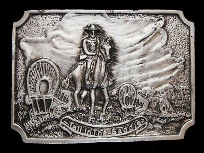 NB11140 VINTAGE 1970s **TALL IN THE SADDLE** OLD WEST BELT BUCKLE