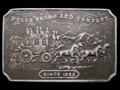 IJ05116 VINTAGE 1970s **WELLS FARGO AND COMPANY** PEWTER BELT BUCKLE