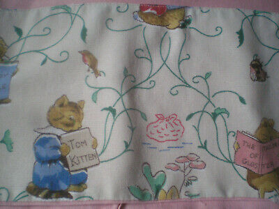"Vintage Re-Claimed Beatrix Potter/ Pink Fabric 120"" x 15-1/2"""