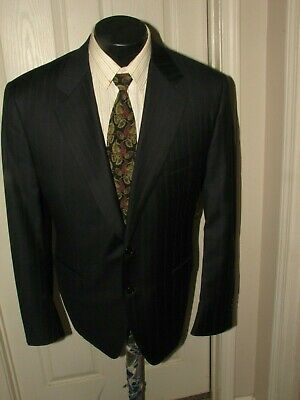 $1399 Canali Blue Label  Men Black Pinstripe Super 120's  S/B Suit  42 L Italy