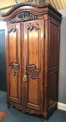 Hand Crafted Carved French Style Armoire /Wardrobe With Mirror Inside And Key