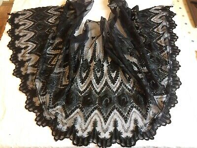 Large Piece Vintage Black Lace Over 4 Feet Long