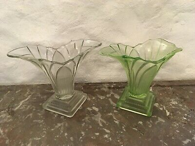 Sowerby Art Deco Glass Vase Sowerby Iris Green Glass Vase 1930s Bagley/sowerby/davidson Art Glass
