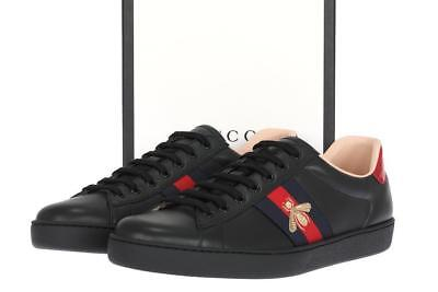 b7303bb6e6f New Gucci Ace Men s Black Leather Web Bee Low Top Sneakers Shoes 9 G us