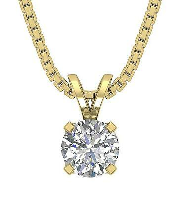 Solitaire Pendant Natural Round Cut Diamond I1 G 0.50Ct Prong Set 14K White Gold