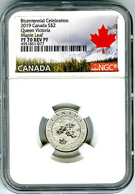 2019 $2 Canada 1/10 Oz Silver Ngc Pf70 Maple Leaf Queen Victoria Reverse Proof