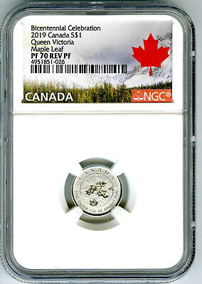 2019 $1 Canada 1/20Oz Ngc Pf70 Silver Maple Leaf Queen Victoria Reverse Proof