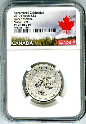 2019 $3 Canada 1/4 Oz Ngc Pf70 Silver Maple Leaf Queen Victoria Reverse Proof