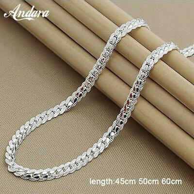 Wholesale Unisex 6MM Full Sideways Necklace  925 Sterling Silver  Snake Chain