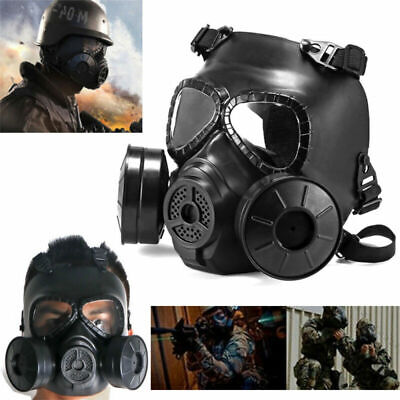 Outdoor Double Filter Fan Gas Mask Perspiration Dust Eye Protect Face Guard USA