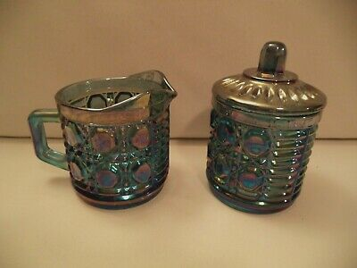 Classic Vintage Indiana Carnival Glass Windsor Blue Creamer And Lidded Sugar Bow