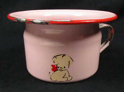 Vintage Pink Child's Chamber Pot, Enamelware & Hand Painted Puppy, Nursery Decor