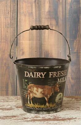 NEW!~Primitive Pail With Handle~Cow Dairy Fresh Milk~Farmhouse/Country/Bucket