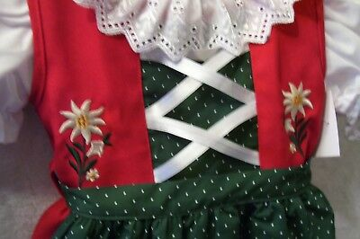 Size 8,Baby,Girls,Kids Germany,Trachten,Oktoberfest,Dirndl Dress,3-pc.RED Green