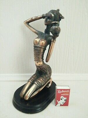 Vintage Retro Copper Nude African Woman Figurine Statue