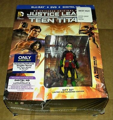 New Justice League vs Teen Titans Bluray/DVD/DC + Graphic Novel & Figure Bestbuy