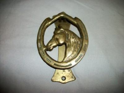 VINTAGE ENGLISH DOOR KNOCKER BRASS HORSE Shoe Head Interior Exterior ENGLAND