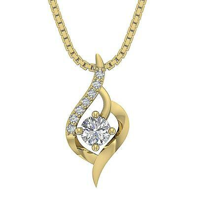 Round Diamond SI1 G 0.40 Ct 14K Yellow Gold Solitaire Cluster Pendant Necklace