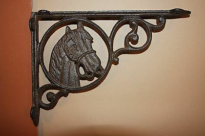 "Western Cast Iron Shelf Brackets, Horse Head Design,  8 3/4"", B-4"