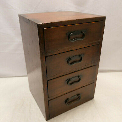 Antique Sugi Wood Document Office Box Japanese Drawers Circa 1900s #902