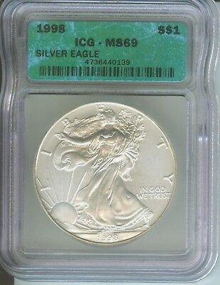 1998 American Silver Eagle ASE S$1 ICG MS69 MS-69 BEAUTIFUL Premium Quality PQ++