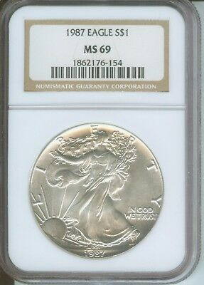 1987 ( 1987-P ) American Silver Eagle S$1 ASE NGC MS69 MS-69 BEAUTIFUL !!!