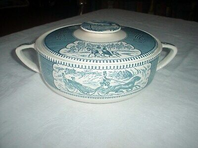 Currier and Ives Covered 1.25 Qt. Casserole Dish Blue White Horse and Buggy