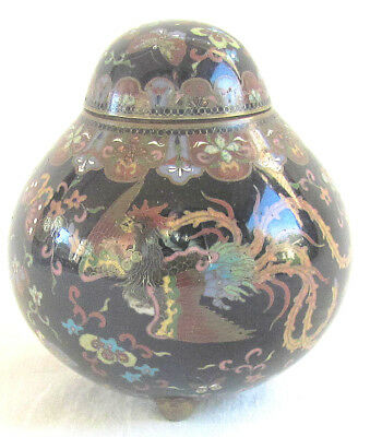 Small Meiji Cloisonne Covered Jar w/Phoenix and Butterflies