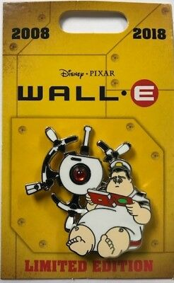 Disney Parks 2018 Pixar Wall-E & Eve 10th Anniversary Captain McCrea LE Pin