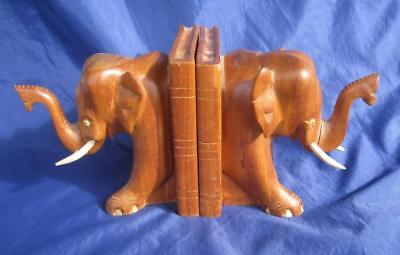 Elephant Pair of Bookends SET Carved African Solid Hard Wood Unique Trunks UP