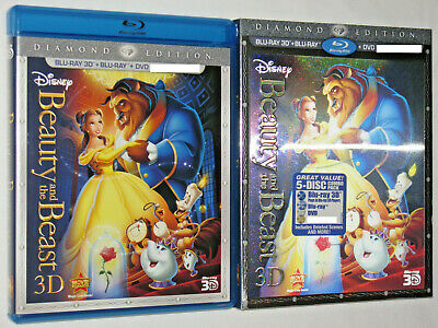 BEAUTY AND THE BEAST 3D Blu-ray 5-Disc Set Diamond Edition Lenticular Slipcover