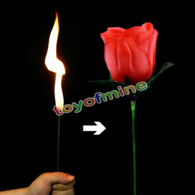 Stage Close Up Magic Trick Torch Rose to Fire Tricks Flame Appearing Flowers