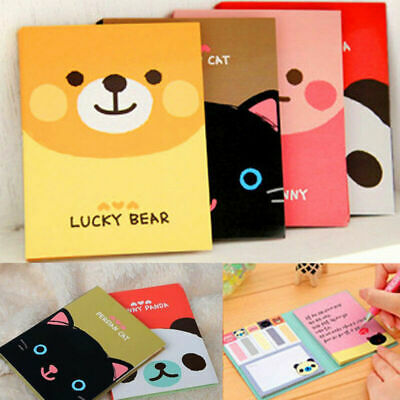 1Pc Portable Cute Cartoon Kraft Paper Notepad Memo Diary Notebook Exercise