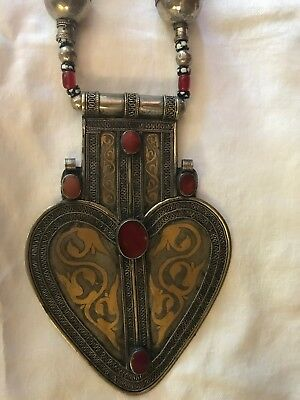 Antique  Turkmen  Silver & Carnelian Asyk Pendant Breastplate and Necklace