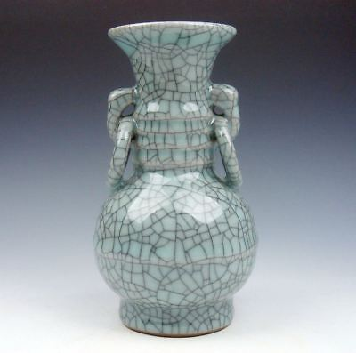 Chinese Crackle Porcelain Hand Crafted Unique Shaped Vase w/ 2 Handles #08101501