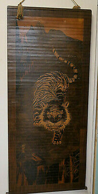 Unique Antique Japanese Wooden Handmade TIGER Display Wall Hanging Scroll 1920#6