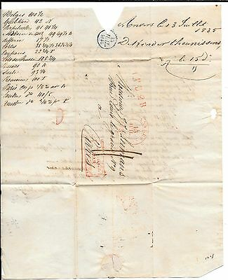 BELGIUM-1835 FL ( Stampless 'cover')- Anvers to Paris w/ message