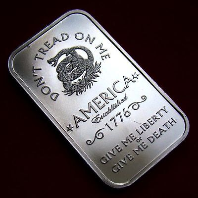 *Gift/Investment! 1-1 Troy oz 999 FN SILVER *Don't Tread On Me* Bar-Private Mint