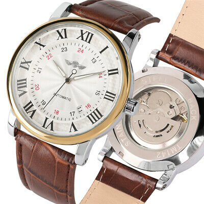 WINNER Top Luxury Leather Band Mechanical Wrist Watches Roman Numerals Display