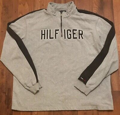 f1795149 Vintage TOMMY HILFIGER Spell-Out 1/2 Zip Pullover Sweatshirt Size 2XL